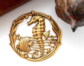 ANTIQUE BRASS Round Under The Sea Seahorse Stampings ~ Jewelry Findings (E-26)