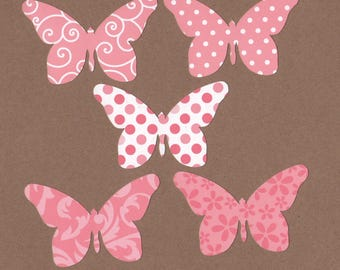 25 - 2 inch tall Butterfly Die Cuts for Paper Crafts Pink Prints  Set 16