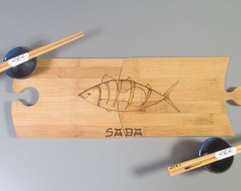 Boards puzzle for tasting sushi - set of 2 plates and 2 pairs of bamboo chopsticks - mackerel