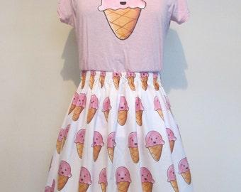 Kawaii Ice Cream Womens Fitted T-shirt
