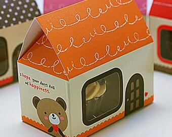 5 Mini House Paper Gift Boxs - Orange (2.5 x 1.6 x 2.5in)