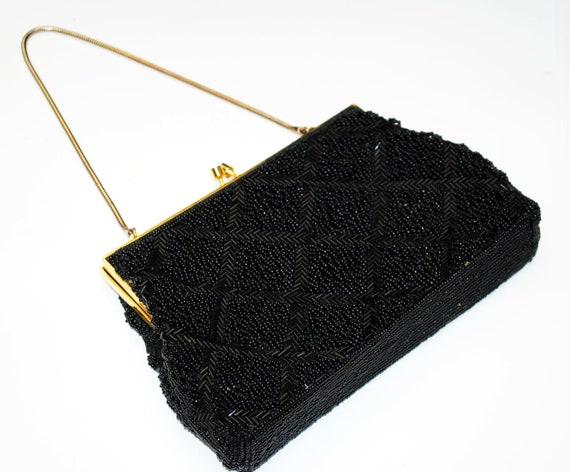 Black beaded  evening bag   - Signed BEL - British Hong Kong - Glass Beads - vintage hand bag  purse Clutch - gold  chain strap