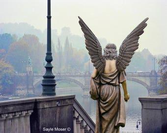 Italian River Angel Fine Art Photograph, Wall Art, Angel Image, Religious Photography, Angel Wings Photo, Spiritual Art, Turin Italy, Bridge