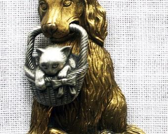 Dog with Kitten in a Basket Brooch