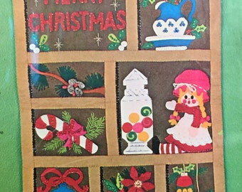 Vintage Bucilla Christmas Shadow Box Jeweled Felt Panel Kit sequins beads mini pinecones Doll Candy Poinsettia Wall Hanging diy Sealed nos