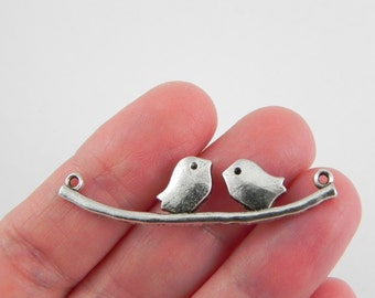 12 Birds on Branch Connector Link Charms - Love Birds - Lead Free - 11mm x 43mm