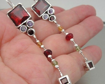 New Israel Handmade Art Very Long 925 Sterling Silver Garnet Earrings (as 041