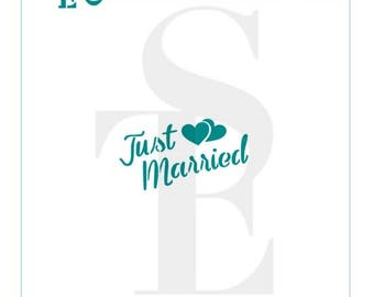 Just Married Greeting Stencil