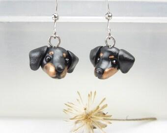 Dachshund Earrings - dog jewelry dog earrings Dachshund jewelry Dachshund gifts polymer clay cute miniature animal black dog lover gift