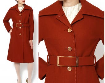 Vintage 1970s Burnt Orange/Rusty Red Belted Wool A-Line Trench Coat by Gump's San Francisco | Small/Medium