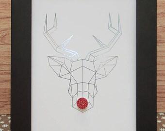 Mint green Rudolph reindeer head-5x7