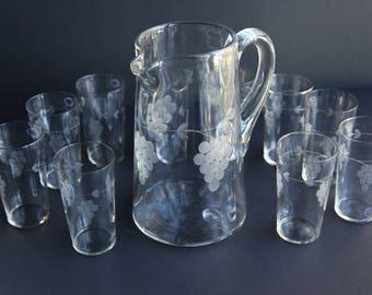 Vintage Glass Pitcher w/ Juice Glasses Machine Blown Wheel Cut Acid Etched ~ Victorian Style Juice Set Grapes ~ Breakfast / Brunch / Dining