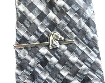 Chess Tie Bar, Chess Knight Tie Clip, Sterling Silver Finish and Brass Finish- Gifts For Him, Gifts For Dad