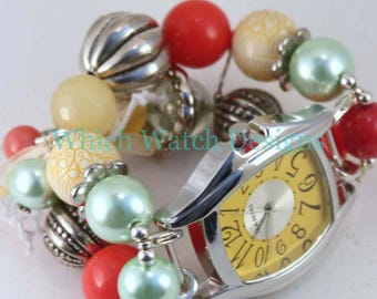 CLEARANCE Party Time WATCH SET.. Mint Green, Yellow and Coral Beaded Watch Bracelet. Watch Face Included