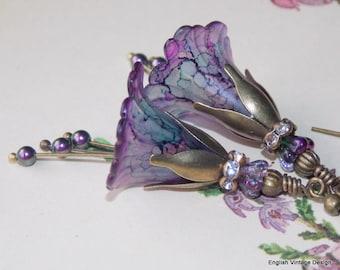 Purple Flower Earrings, 'Hillside Heather', Flower Earrings, Vintage Style Earrings, Drop Earrings, Boho Earrings, Dangle Earrings, Lucite
