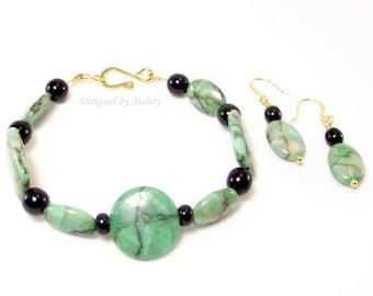 Bracelet and Earring Set in Green Matrix Jasper and Black