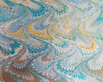 """Marbled Paper #42 - 18""""x22"""" - Wavy Nonpareil (Bookbinding)"""
