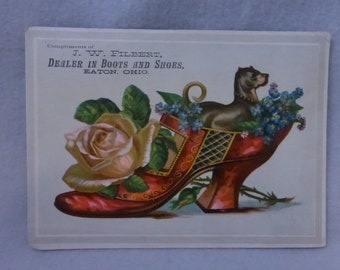 Antique Ephemera Victorian Advertising Card J. W. Filbert Dealer in Boots and Shoes