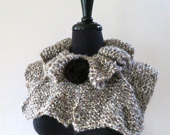 SALE - Beige Gray Taupe White Melange Color Knitted Statement Capelet Ruffled Collar Cowl with Black Flower Knitted Brooch Pin
