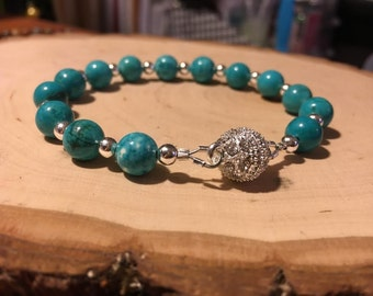 Turquoise Beaded Bracelet w/ Silver Magnet Clasp