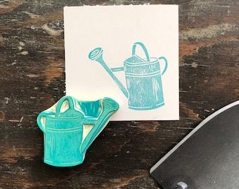 Hand Carved Watering Can Rubber Stamp