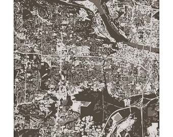 Little Rock Cityscape / Arkansas Map Art Print City Wall Art / 8x10 Poster / Choose your color
