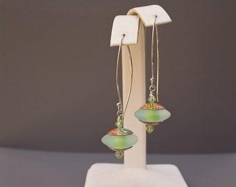 Green Lampwork Earrings - Long Green Earrings - Christmas Gift Ideas for Women
