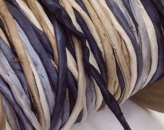 Pure Silk string cord hand dyed in Stonehaven Colorway for Jewellery Drawstring Beading