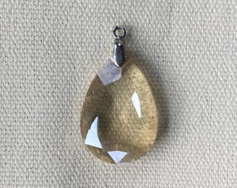 Vintage Faceted Smoky Crystal Pendant with Silver Bail