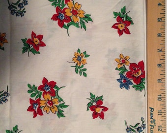 1950's Vintage Red and Yellow Flowers fabric