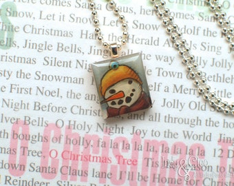 Snowman Scrabble Necklace, Handmade Scrabble Jewelry, Wood Tile Pendant, Smiling Snowman, Tiny Jewelry, Snowman Lover Gift, Swarovski Bling