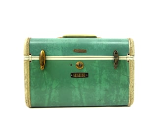 Vintage Green Samsonite Carry On Luggage Hard Shell Overnight Suitcase Handbag Travel Bag Train Case Luggage Messenger Makeup Box