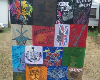 Music Themed T-shirt Lap Blanket Upcycled Recycled Ready To Ship