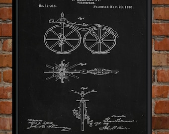 60% OFF SALE. 1866 Bicycle Patent Art Print, Patent Wall Art Poster Chalkboard Print, Printable Instant Download.