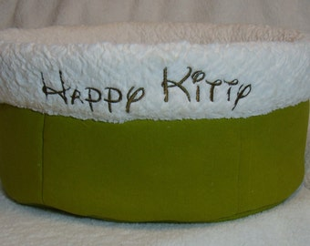 Cuddle Cup Dog Bed - Twill and Cuddle Fur - Dog Beds - Cat Beds - Embroidery Included- HappyKitty - Sleepy Kitty - Purr Purr Purr
