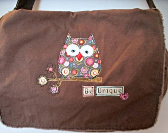Canvas Messenger Bag, Owl Bag, Cross body Book Bag, Diaper Bag, School Bag, Owl Theme,  Appliquéd Owl Messenger Bag