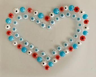 Millefiori Dish, LOVE USA, Patriotic, Fused Glass Flowers, Genuine Italian/Murano Glass Trinket Tray, Ring Dish
