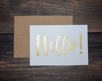 Set of 10 Hand Lettered Greeting Cards - Hello, Bonjour, Ciao, Hola, Aloha - Embossed Calligraphy Stationary