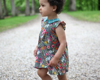 6M PDF Baby Dress Pattern, Peter Pan Collar Sewing Pattern