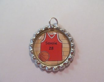 Personalized Basketball Jersey  Bottle Cap Necklace w/18 in ball chain necklace
