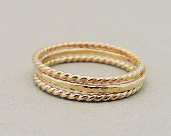 Gold Rings stacking rings 1 hammered ring and 2 twisted rings thin gold filled stack ring