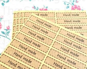 80 Kraft Hand Made Stickers