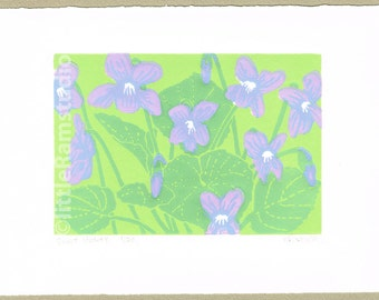 Violets - Linocut Art Print, Limited Edition