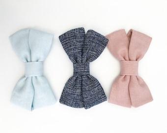 Classic linen toddler bow handmade // The Linen Payton