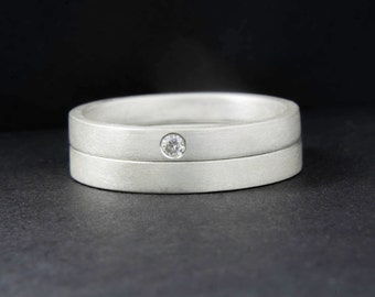 Matt silver rings, Diamond stacking rings, wedding ring set, tiny diamond ring, petite rings
