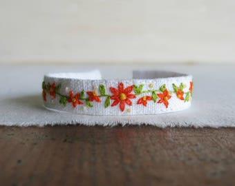 Orange Daisy Bracelet - Hand Embroidered Floral Cuff Bracelet - Gift Under 40