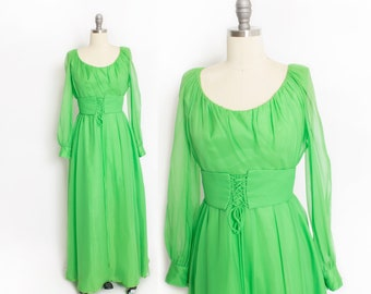 Vintage 1960s Dress - EMMA DOMB Neon Green Chiffon Gown 60s - Small