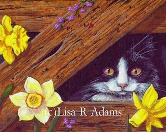 Black Cat Daffodils ACEO Art Card Print Giclee Creationarts