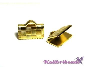 10x Brass Ribbon Crimp Ends 10 mm - Gold - Crimp Terminals for Flat Cord or Macrame