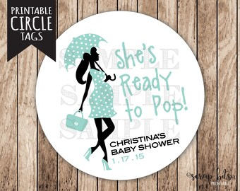 Printable Ready to Pop Tags, Personalized Printable Ready Pregnant Lady Baby Shower Tags, Boy Ready to Pop Tags, Boy Baby Shower Tags